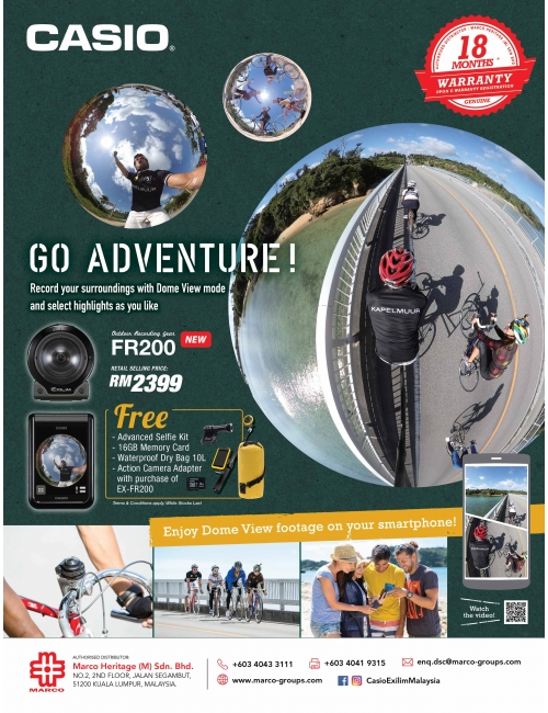GO ADVENTURE with Casio EX-FR200-Record your surroundings with Dome View mode and select highlights as you like.