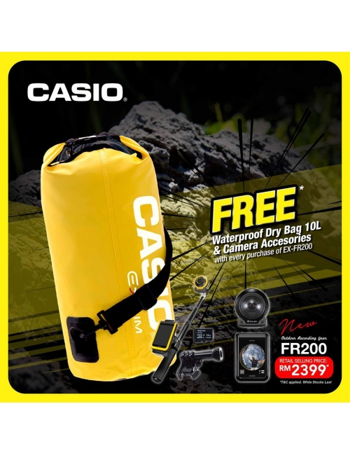 Casio EX-FR200 _ Limited Offer PWG-Grab the Limited Offer with FREE Waterproof Dry Bag 10L & Camera Accessories for every purchase of CASIO EX-FR200! *While Stock Last * T&C apply
