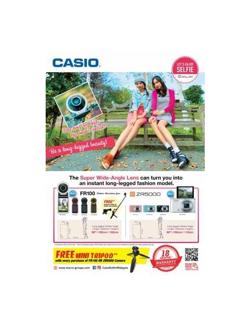 CASIO EX-ZR5000 and FR100 PWG Promo-Free one mini tripod upon purchase of one unit ZR5000 and many more freebies upon purchase of one unit FR100.