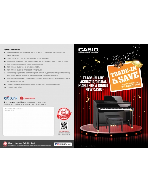Casio Musical Instruments-Trade In any Acoustic/ Digital Piano for a Brand New Casio!